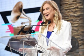 The new Recording Academy president and CEO, Deborah Dugan, speaking at the 62nd Grammy Awards nominations on Nov. 20 in New York City.