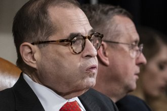 """House Judiciary Committee Chairman Jerry Nadler had adjourned Thursday without a vote on the articles of impeachment. Ranking member Doug Collins (in background) likened the move to a """"kangaroo court."""""""