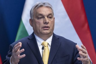 Hungarian Prime Minister Viktor Orbán addresses the media during a wide-ranging international press conference on Thursday in Budapest, Hungary.