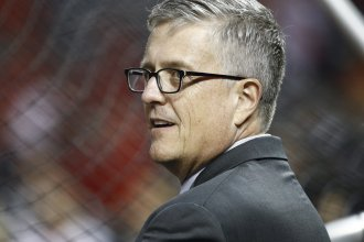 Houston Astros general manager Jeff Luhnow, shown here during the 2019 World Series, has been fired by team owner Jim Crane.