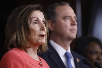 House Speaker Nancy Pelosi of Calif., joined by House Intelligence Committee Chairman Adam Schiff, D-Calif., speaks during a news conference to announce impeachment managers on Capitol Hill on Wednesday.