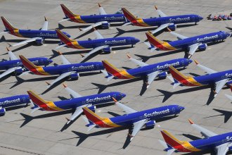 Boeing 737 Max aircraft operated by Southwest Airlines crowd the tarmac of the airport in Victorville, Calif., after the Federal Aviation Administration grounded the planes last year.