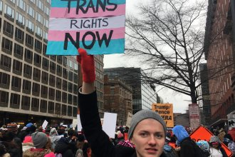 Protester Connor Czora spoke out on behalf of transgender students at the 2020 Women's March in Washington, D.C.