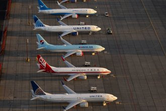 Some of the grounded Boeing 737 MAX airplanes are seen parked in Moses Lake, Wash., in October 2019.