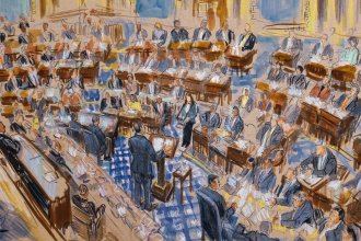 A sketch artist's rendering of White House counsel Pat Cipollone speaking in the Senate chamber during the impeachment trial against President Trump on Jan. 21. In the trial, senators play the role of jurors, and Chief Justice John Roberts presides.