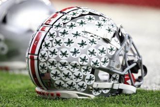 Ohio State University football helmet before the BIG Ten Football Championship Game against the Wisconsin Badgers on Dec. 07, 2019.