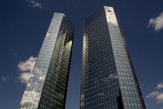 A view of the headquarters of Deutsche Bank in Frankfurt, Germany, on July 8, 2019.