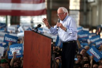 Democratic presidential candidate Bernie Sanders speaks during a campaign event on Monday in Richmond, Calif. The independent senator identifies as a democratic socialist.