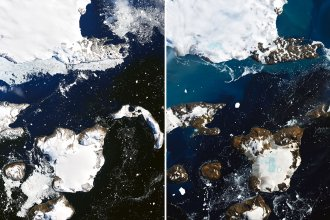 Satellite images show the effects of a prolonged warm spell on Eagle Island, in the far north of the Antarctic Peninsula, NASA says. An inch of snowpack melted in just one day, the agency says. The blue areas in snow on the right are ponds of melted water.