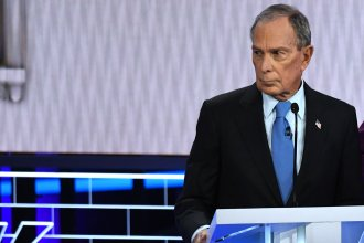 Democratic presidential hopeful and former New York Mayor Mike Bloomberg looks on during a Democratic primary debate Wednesday in Las Vegas, Nevada.
