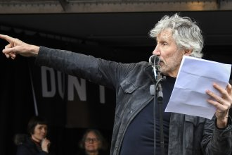 British musician Roger Waters speaks at a rally in Parliament Square, London, as part of the demonstration against the extradition of Julian Assange on Saturday.