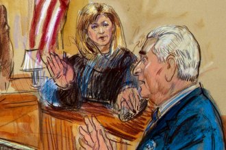 "Judge Amy Berman Jackson, shown in a courtroom sketch, has been at the center of a series of high-profile Russia cases — most recently, one involving self-proclaimed ""dirty trickster"" Roger Stone."