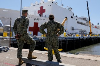 The Mercy, a Navy hospital ship, departs San Diego Monday en route to Los Angeles to help free up local hospitals to deal with coronavirus cases.