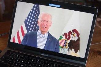 Former Vice President Joe Biden holds a virtual campaign event on March 13. Since the coronavirus outbreak has grounded campaigning, his staff has spun up a strategy for reaching voters on the internet and TV more aggressively.