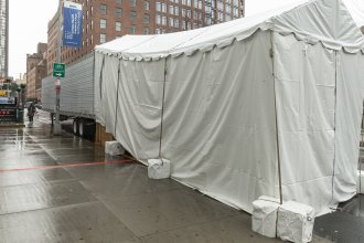 In Manhattan, a makeshift morgue is set up next to Lenox Health Greenwich Village.