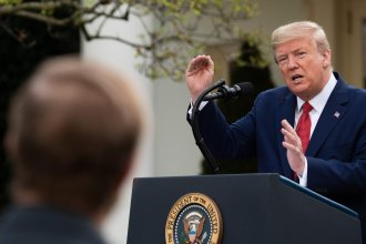 President Trump speaks in the Rose Garden for the daily coronavirus briefing at the White House on Sunday.