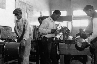 Works Progress Administration workers making copper utensils for Pima County Hospital in Texas in March 1937.