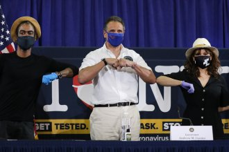 Face masks are effective in slowing the spread of the coronavirus, New York Gov. Andrew Cuomo says. His message was bolstered by Rosie Perez and Chris Rock, who joined Cuomo at a Thursday news conference in Brooklyn.