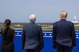 President Trump, Vice President Pence and Karen Pence view the SpaceX flight to the International Space Station at Kennedy Space Center, Saturday in Cape Canaveral, Fla.