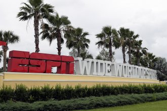 A sign marks the entrance to ESPN's Wide World of Sports Complex at Walt Disney World in Florida, where the NBA plans to restart the season with 22 teams later this month.