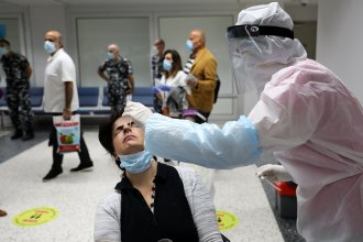 Passengers are tested for COVID-19 at Beirut International Airport on July 1.