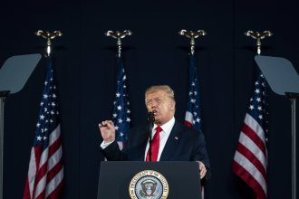President Trump speaks during an event at Mount Rushmore National Memorial in Keystone, S.D., on Friday.