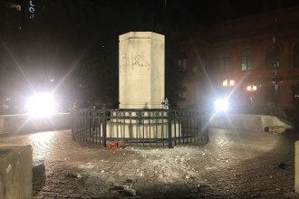 Remains of the Christopher Columbus statue near Little Italy in Baltimore after it was ripped from its pedestal by protesters on July 4, 2020.