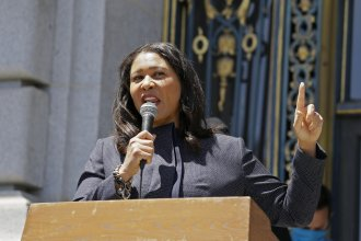 San Francisco Mayor London Breed speaks to a group protesting police racism outside City Hall on June 1. On Friday she announced plans to divert $120 million from the city's police to efforts that address inequities in the Black community.