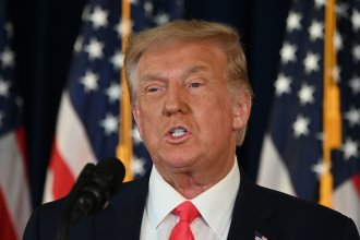 President Trump speaks during a news conference in Bedminster, N.J., on Saturday.