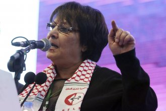 Leila Khaled, an activist and prominent member of the Popular Front for the Liberation of Palestine, speaks during an event in February 2018.