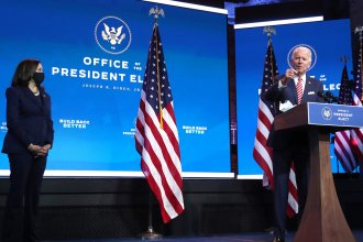 President-elect Joe Biden delivers remarks about the economy on Nov. 16, as Vice President-elect Kamala Harris looks on.