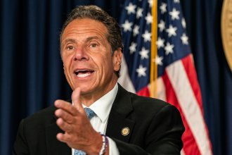New York Gov. Andrew Cuomo, seen here in July, denies allegations that he sexually harassed former adviser Lindsey Boylan.