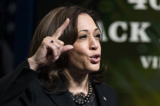 Vice President Kamala Harris speaks at the 40th Annual Black History Month virtual celebration, at the Eisenhower Executive Office Building on Feb. 27, 2021.