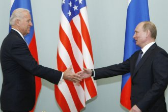 In this 2011 photo, Joe Biden, then vice president, shakes hands with Vladimir Putin, then Russia's prime minister, in Moscow. President Biden will hold a summit with Putin this week in Geneva, a face-to-face meeting between the two leaders that comes amid escalating tensions between the U.S. and Russia.