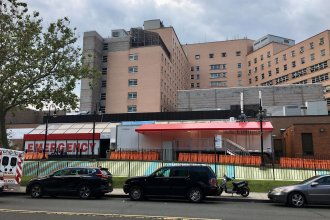 Outside the emergency room entrance at Elmhurst Hospital in Queens, once the epicenter of COVID-19 in New York City.