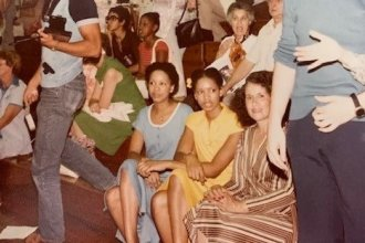 Colette Baptiste-Mombo and her family at Jackson Memorial High School in 1974