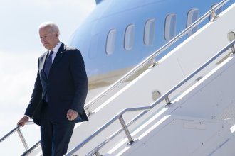 President Biden steps off Air Force One at Geneva Airport on Tuesday. Biden is scheduled to meet with Russian President Vladimir Putin on Wednesday.