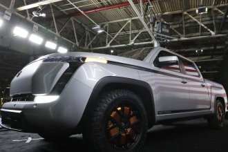Lordstown Motors shows off a model of its electric pickup truck, Endurance, in Lordstown, Ohio, on June 25, 2020. The auto maker is under pressure after saying it was running out of cash, raising questions about the future of the crop of startups that have entered the industry.