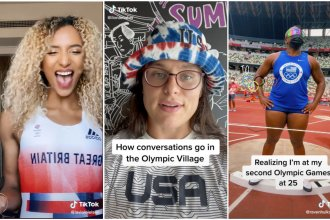 From left, screenshots from Olympians Laviai Nielsen, Ilona Maher and Raven Saunders' recent TikTok posts from the Tokyo Olympics.