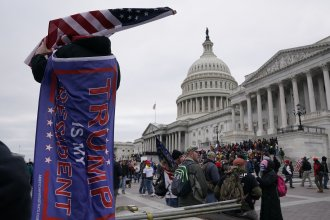 Supporters of President Trump protest outside the U.S. Capitol on Jan. 6, 2021.