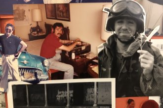 Part of a collage of images of Scott Simon reporting for NPR News from Cuba, San Salvador and Iraq.