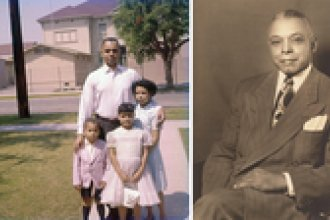 Left: Ivan Abbott Houston (bottom left), with his father Ivan J. Houston and sisters Pamela Houston-Chretien and Kathi Houston-Berryman in front of their house on West 24th St., across the street from 24th Street School, on Easter Sunday, in the late 1950s. Right: Entrepreneur Norman Houston, who bought property in 1938, was the first African American known to purchase a home in Sugar Hill.