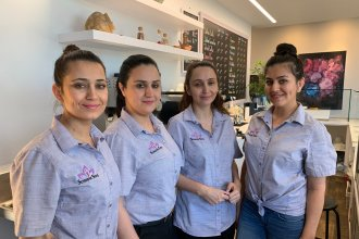 The Shams sisters at their Sunshine Spice Cafe in Boise, Idaho. From left, Narges, Khatera, Bahar S. Amir (owner) and Homeyra Shams.