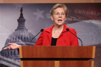 Sen. Elizabeth Warren holds a news conference in March. She and Sen. Bernie Sanders are leading the push to introduce a bill Tuesday that would make pandemic-related food benefits for college students permanent and create grants for colleges to address hunger.