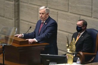 "Missouri Gov. Mike Parson, a Republican, at this year's State of the State address in Jefferson City, Mo., when he declared he would ""uphold the will of the voters"" in expanding Medicaid. He reversed course on Thursday."