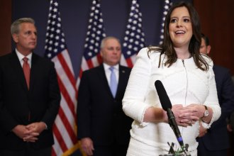"Rep. Elise Stefanik, R-N.Y., speaks to reporters Friday after her election as House Republican Conference chair. Stefanik called former President Donald Trump ""a critical part of our Republican team."""