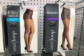 Shapewear undergarments hang on display at Walgreens. Fajas are similar products with Spanx-like features that constrict and body-shape.