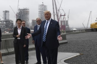President Donald Trump speaks while on a tour of Shell's soon-to-be completed Pennsylvania Petrochemicals Complex in Beaver County, Pa. on Tuesday.