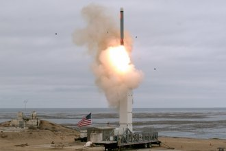 This photo released by the U.S. Defense Department shows the launch of a conventionally configured ground-launched cruise missile at San Nicolas Island, Calif., on Sunday.