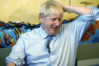 "Britain's Prime Minister Boris Johnson, seen during a visit to a hospital in southwest England on Monday, calls the backstop deal ""inconsistent with the sovereignty of the U.K."""
